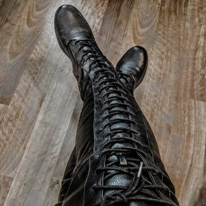 Military black lace up boots
